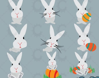 Cute Grey Easter Bunny Clipart Collection