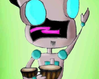 Invader ZIM- Beatnik with Bongos Robot GIR Art Magnet