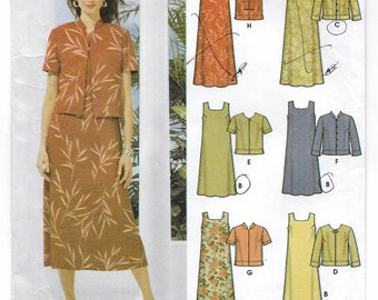 An Easy-Sew Sleeveless, Back Tie Pullover Dress and Jacket with Sleeve and Close Variations: Uncut - Sizes 16-18-20-22 ~ Simplicity 5959