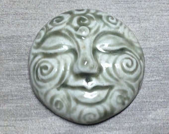 Large Spiral Face Ceramic Cabochon Stone in Pale Flesh
