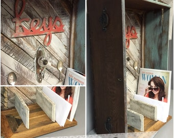 Repurposed Antique Drawer into Key/Mail Organizer with Reclaimed Wood Shelf