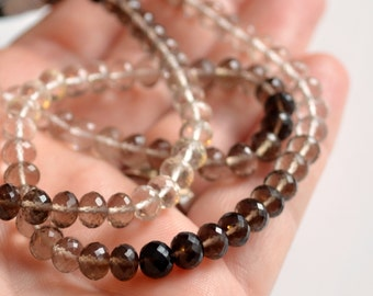 AAA Real Smoky Quartz Rondelles, Shaded Ombre Gradient, Microfaceted, Large Gemstone Bead Roundels, 5 - 6mm - 7 inch strand