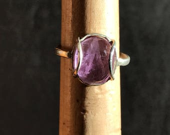 Large Single Amethyst Ring with Modern Sterling Silver Setting