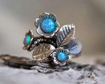 Opals ring, Sterling silver ring, leaf ring, flowers ring, multistone ring, mothers ring, floral ring, blue ring - Blue grass R1696-1