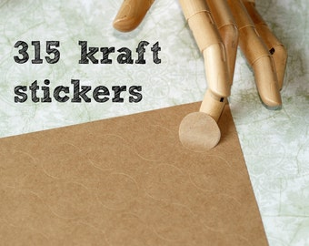 "Kraft Stickers ... 315 Blank One Inch Stickers 1"" (25mm) Mini Labels Kraft Brown Self Adhesive Packaging Envelope Seals DIY Labels Circles"