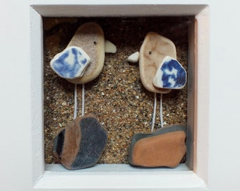 Scottish Sea Pottery Birds Picture - Bird Lovers Gift - Birdwatcher Gifts - Wedding Present - Anniversary Gift - 3D Art Handmade in Scotland