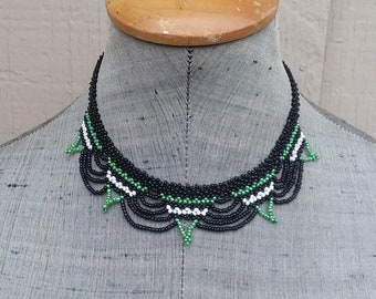 Black Gold White Beaded Netting Art Deco Choker Collar Necklace BOHO Hippie Casual Handcrafted Seed Beadwork Jewelry Jewellery