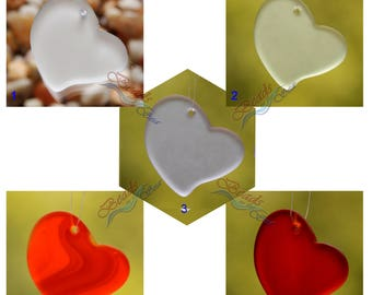 Sea Glass Heart Rainbow LG  2pcs (30mm) Heart Flat Cultured Sea Glass Beads~Jewelry Making Beads~Beach Glass Pendant Beads~ More Colors