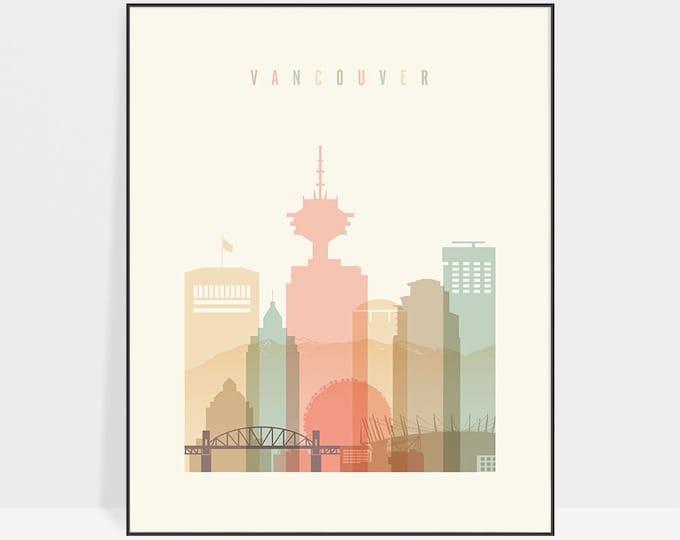 Vancouver art print, Poster, Travel Wall art, Vancouver skyline, Canada cityscape, City poster, Typography art, Home Decor, ArtPrintsVicky