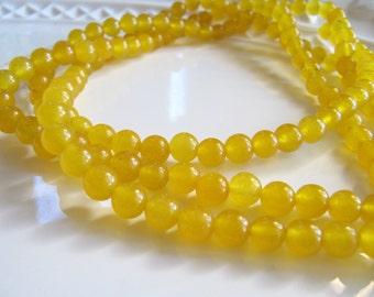 6mm Yellow JADE Beads, Round Smooth, 64 pcs, Full Strand, Gemstone Beads,
