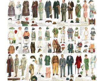 Printable Paper Doll Family 1920s  Art Deco 12 Dolls Instant Digital Download
