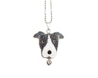 PIT BULL sterling silver necklace, beaded Pitbull Terrier pendant dog jewelry/ Made to Order/