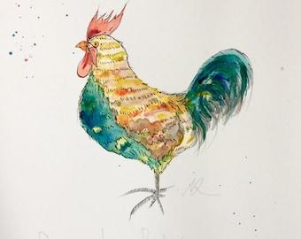 Scruffy Rooster- original watercolour