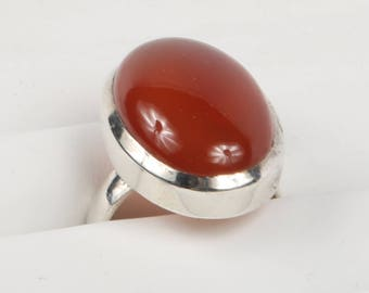 1990's Large Bezel Set Genuine Carnelian Cabochon & Sterling Silver minimalist Ring, Size 9, Excellent Cond., Top is 25mm X 17mm.