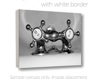 Bathroom Wall Art-Bath Tub Photograph-Silver Wall Decor-Cottage Chic Art-B&W Wall Art-Vintage Cold/Hot Bath Knob Photo-Wrapped Canvas