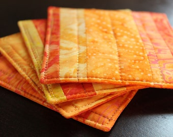 Quilted Coasters in Orange Batiks Set of 4