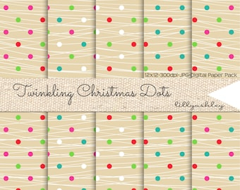 50% off Christmas Digital Paper Pack of 5--12x12 JPG Digital Paper--Strands of Christmas Light Dots in 5 different color dot combos!