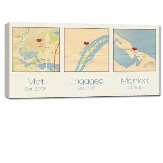 Cotton Wedding Anniversary Gifts For Him: Gifts For Him Cotton Anniversary Gift Custom Map Art Using