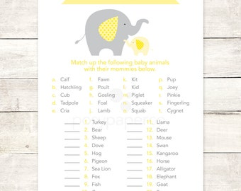 baby shower game printable elephant yellow grey matching game who's my mommy gender neutral baby shower digital games - INSTANT DOWNLOAD