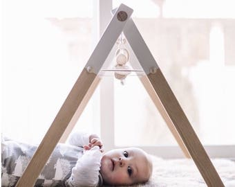 Wood Baby Gym - Infant Activity Center - Wood and Merino Wool Toys - Natural and White - Non-Toxic Organic Wax - New Baby Gift