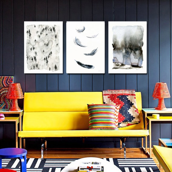 Set of 3 minimalistic art print. Forrest wall art. Woodland