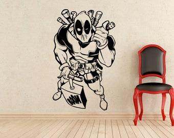 Deadpool Super Stickers Wall Vinyl Superhero Decals Home Interior Murals Art Decoration (Improved Design) (302z)