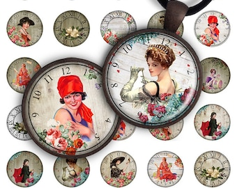 75% OFF SALE Digital Collage Sheet Retro Clocks 1.2 inch, 1 inch size 25mm image for pendants round glass charms resin bottle caps magnets