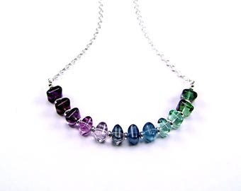 Fluorite Ombre Sterling Silver Necklace N589E