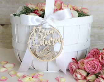 Personalized Modern Rustic Waves Beach Wedding Flower Girl Basket Tag   Custom Name