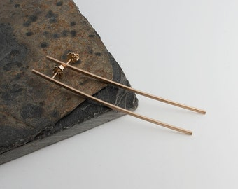 Long Bar Earrings, Handmade Matte Post Earrings, Stud Earrings, Earrings, Shiny Earrings