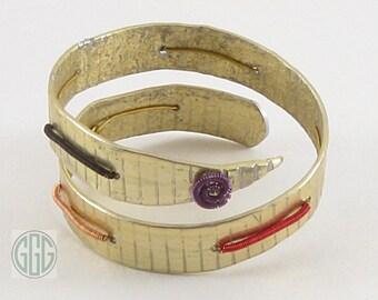 Bracelet -  Gold Wrap Bangle Knitting Needle (B201)