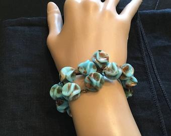 Vintage COPPER FLUSS TURQUOISE Glass Beads Wrap Around  Bracelet Organic Free Form Shape Art Glass Beads Copper Fluss  Turquoise Art Glass