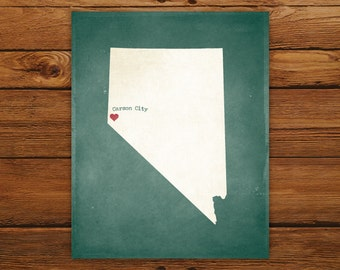 Customized Printable Nevada State Map - DIGITAL FILE, Aged-Look Personalized Wall Art