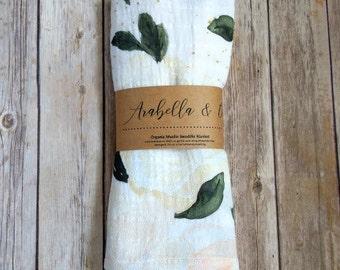 Organic Muslin Swaddle Blanket, Vintage Bloom, Over-sized, Baby Blanket, New Baby, Receiving Blanket, Baby Girl, Modern Baby, Floral