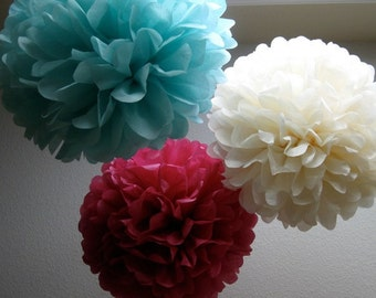Tissue Pom Poms- 12 Poms - Your color choice