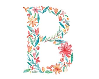B Uppercase b | Letter, typographic, alphabet. Wall art, print, gift, watercolour, floral