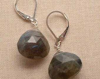 Labradorite Earrings, Gray Gemstone Earrings, Healing Gemstone, Summer Earring, Silver Earrings