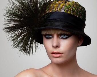 Peacock cloche Hat