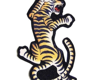 On SALE 75% OFF Punk - Tiger - Tattoo Flash - Rockabilly - T Shirt - Patches - Fabric - Circus - Iron On Patch