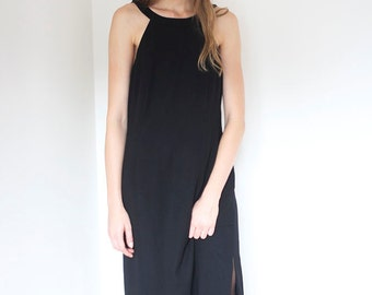 Classic black maxi dress with spectacular back