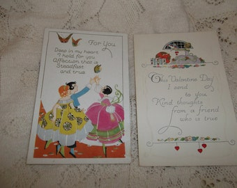 Lot of 2 Vintage Embossed Valentine Post Cards Ladies Unused