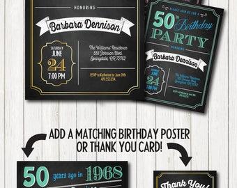 50th birthday invite Etsy