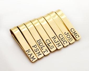 Personalized Brass Tie Clip - Groomsmen Gift Set - Monogram Tie Tack, Tie Bar, Brass Tie Clip, Stamped Tie Bar - Best Man Gift, Gift for Him