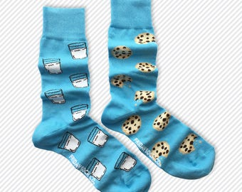 Mens socks | Milk | Cookies | Funky Socks | Fun Socks | Mismatched Socks | Cool Socks | Grey Socks