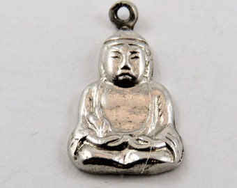 Monk in Prayer Sterling Silver Pendant or Charm.
