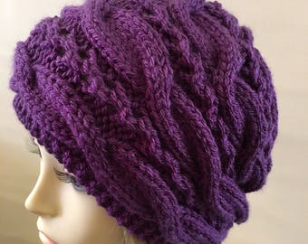 READY TO SHIP, Braided Cable Knit Unisex Chunky Beanie, Hipster Beanie, Knit Hat great for Gifting, Holiday Gift.