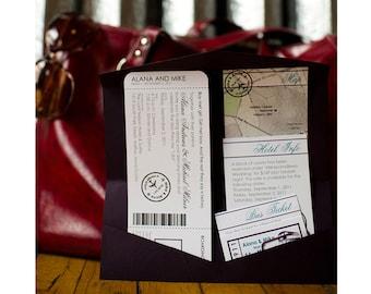 Travel Themed Boarding Pass Style Invitation Set with Pocket Folder