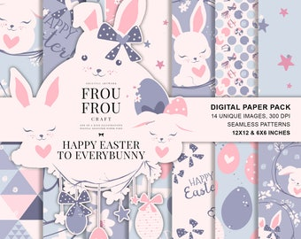 Easter Paper Pack, Spring Digital Patterns, Cute Bunny Fabric Printable, Pastel Nursery Neutral Baby, Surface Design Seamless Patterns