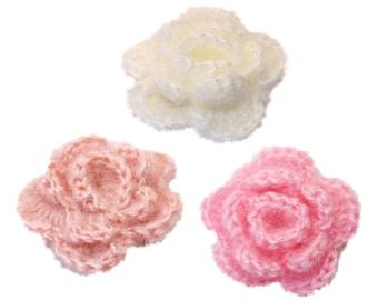 3 pcs - Mohair 5cm 3 layer crochet flowers
