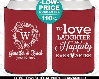 Wedding Can Coolers, Love Laughter and Happily Ever After, Monogram, Personalized Can Coolers, Custom Can Coolers, Wedding Favors (C61)